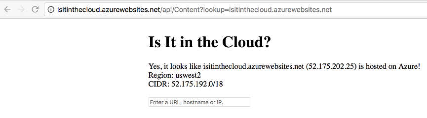 isitinthecloud.azurewebsites.net/api/Content lookup