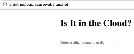 isitinthecloud.azurewebsites.net home page